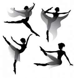 Ballet dancers silhouettes vector