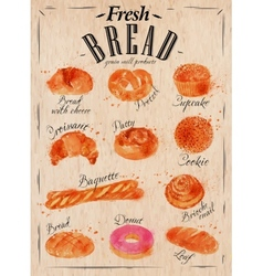 Bread products poster kraft vector image vector image