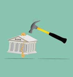 Broken bank with coins vector