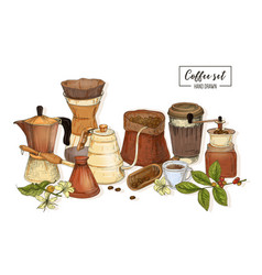 Bundle of tools for coffee brewing - moka pot vector