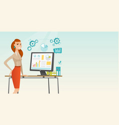 business woman making presentation on computer vector image