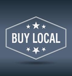 Buy local hexagonal white vintage retro style vector