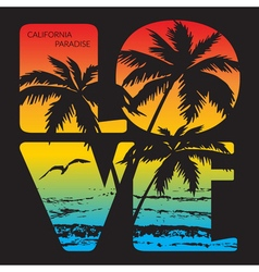 California paradise typography graphics vector