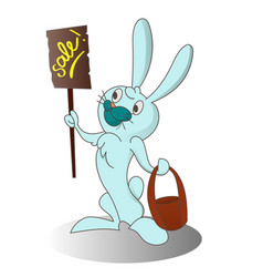 cartoon easter rabbit with banner vector image vector image