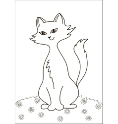 Cat on meadow contours vector image
