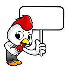 Chicken character the guides and holding a picket vector