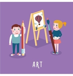 Children drawing boy and girl studing in an art vector