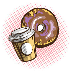 chocolate donuts and cup of coffee cartoon vector image