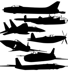 Collection of different combat aircraft silhouette vector image vector image