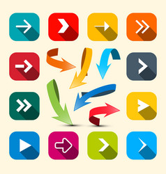 Colorful arrows set arrow icon vector