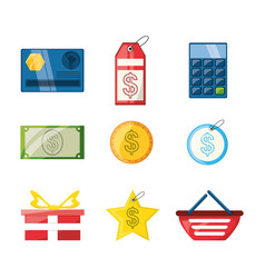 Colorful set icon shopping concept vector