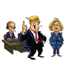 Donald trump vladimir putin and hillary clinton vector