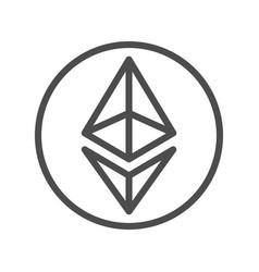 Ethereum sign thin line icon for internet money vector
