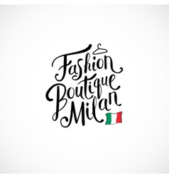 Fashion boutique milan concept on white vector