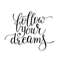follow your dreams handwritten calligraphy vector image vector image
