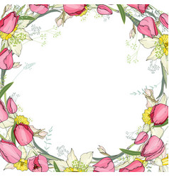 greeting card with round frame made of tulips and vector image vector image