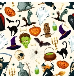 Halloween holiday cartoon horror seamless pattern vector