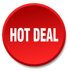 Hot deal red round flat isolated push button vector
