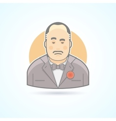 Italian mafiosi crime leader don corleone icon vector