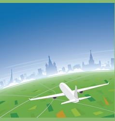 moscow skyline flight destination vector image vector image