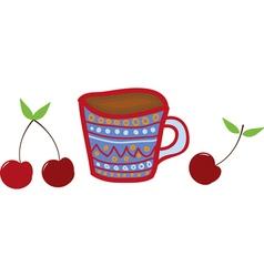 mug and cherries vector image