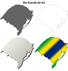 Rio Grande do Sul blank outline map set vector image vector image