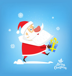 santa claus with new year gift in hand vector image vector image