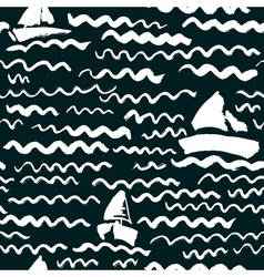 Seamless pattern with waves and ship vector