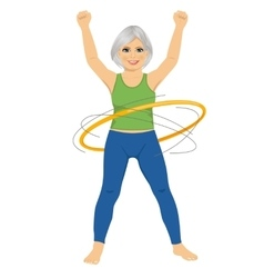 Senior lady doing gymnastic with hula-hoop vector