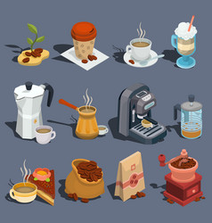 Set of isometric coffee icons stickers vector