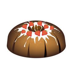 strawberry bundt cake with sugar glaze vector image vector image