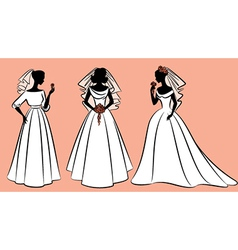 Wedding dress woman vector
