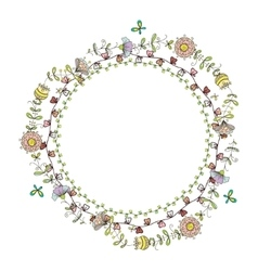 wreath frame with floral pattern vector image vector image