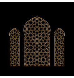 Gold islamic window vector image