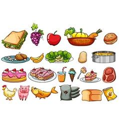 Food and ingredients set vector