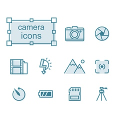 Thin line icons set camera vector