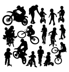 Learning activities and play bike silhouettes vector