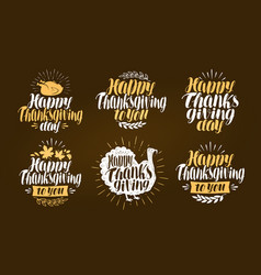 Happy thanksgiving label set holiday symbol or vector