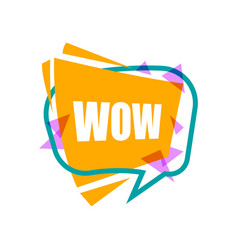 Wow speech bubble with expression text vector