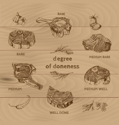 meat degree of doneness vector image