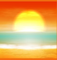 Sea sunset with the sun vector