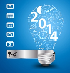 2014 new year with light bulb idea vector image