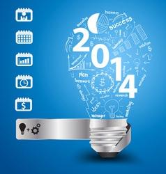 2014 new year with light bulb idea vector
