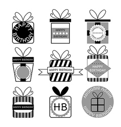Gift boxes icons happy birthday set vector