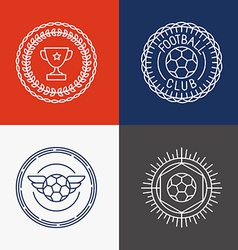 Linear football badge and emblems vector