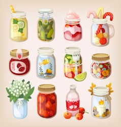 Mason jars with things vector image