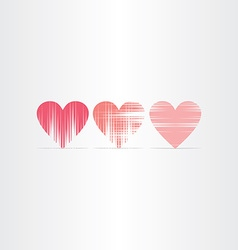 Scratched hearts icons set vector