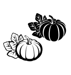 Pumpkins with leaves black silhouette vector