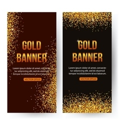 Gold banners with glitters and sparkles gold vector