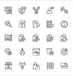 Seo outline icons set vector